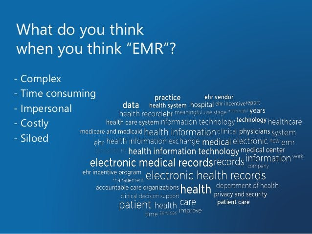 """What do you think when you think """"EMR""""? - Complex - Time consuming - Impersonal - Costly - Siloed"""