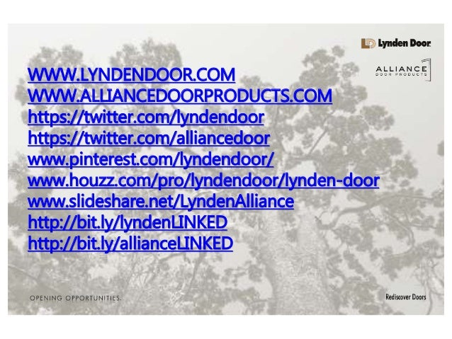 ... Alliance Door Products SOCIAL MEDIA FEEDS. WWW.LYNDENDOOR.COM  WWW.ALLIANCEDOORPRODUCTS.COM Https://twitter.