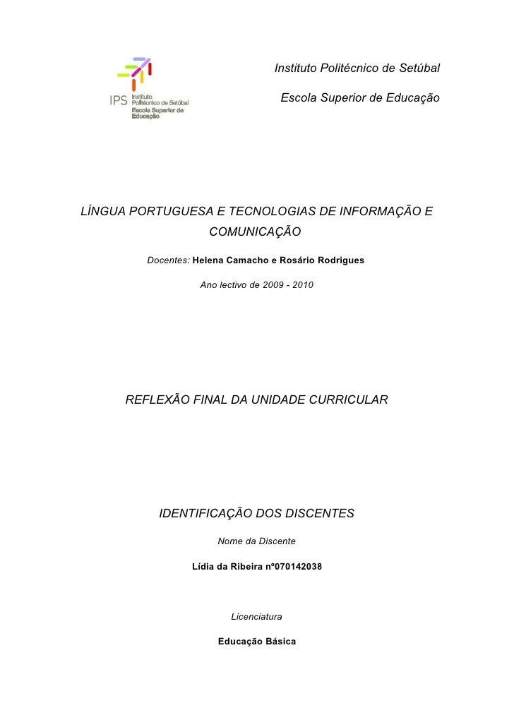 Instituto Politécnico de Setúbal                                      Escola Superior de Educação     LÍNGUA PORTUGUESA E ...