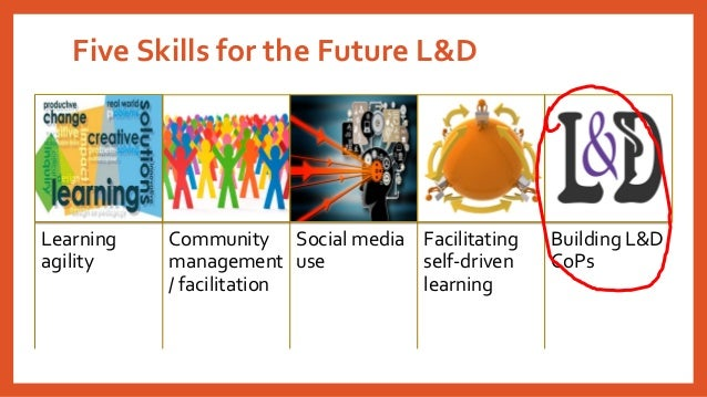 Five Skills for the Future L&D Learning agility Community management / facilitation Social media use Facilitating self-dri...