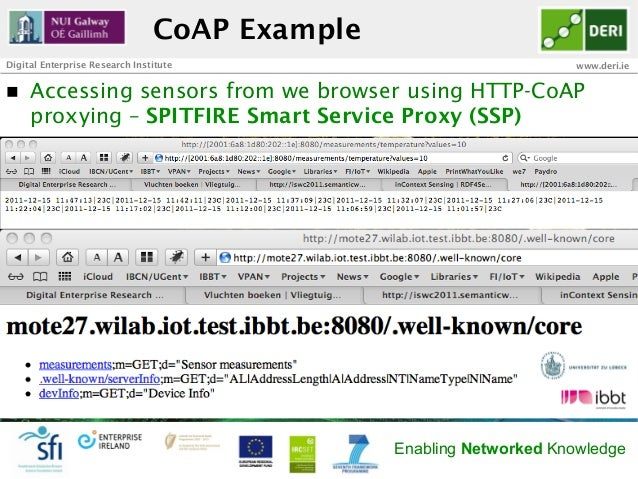 CoAP ExampleDigital Enterprise Research Institute                               www.deri.ien   Accessing sensors from we...