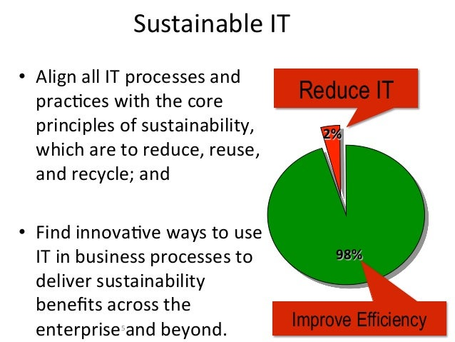 Sustainable IT • Align all IT processes and    pracFces with the core                  Reduce IT   ...