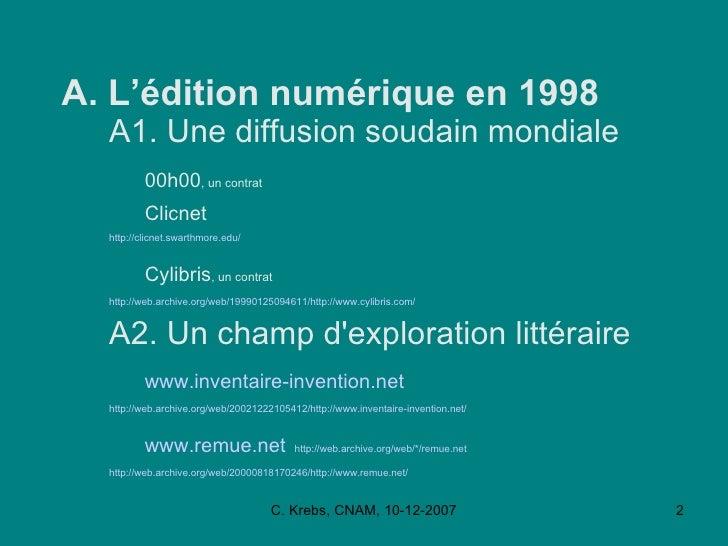 L'édition Numérique,  CNAM, Déc 2007 Slide 2