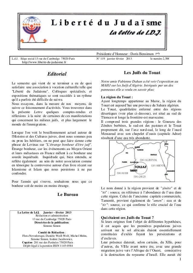 Présidente d'Honneur : Doris Bensimon לייז L.d.J. Siège social 13 rue du Cambodge 75020 Paris  N° 119 janvier-février 20...