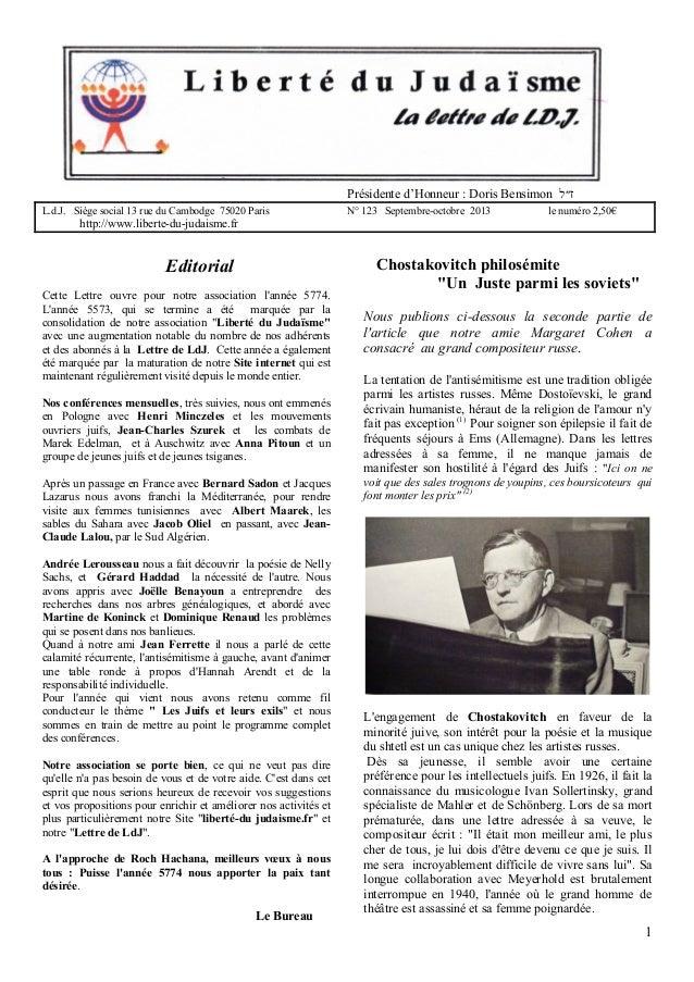 Présidente d'Honneur : Doris Bensimon ז״ל L.d.J. Siège social 13 rue du Cambodge 75020 Paris  N° 123 Septembre-octobre 2...