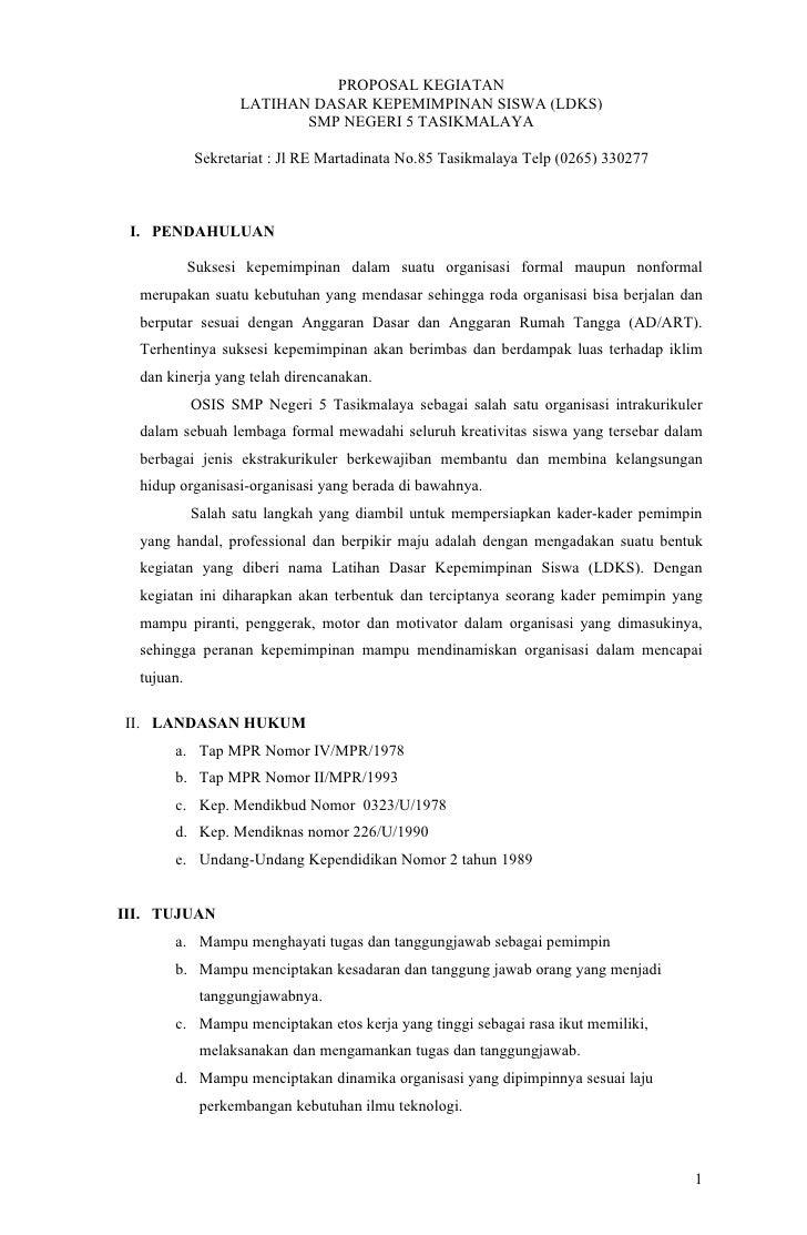 PROPOSAL KEGIATAN                   LATIHAN DASAR KEPEMIMPINAN SISWA (LDKS)                          SMP NEGERI 5 TASIKMAL...