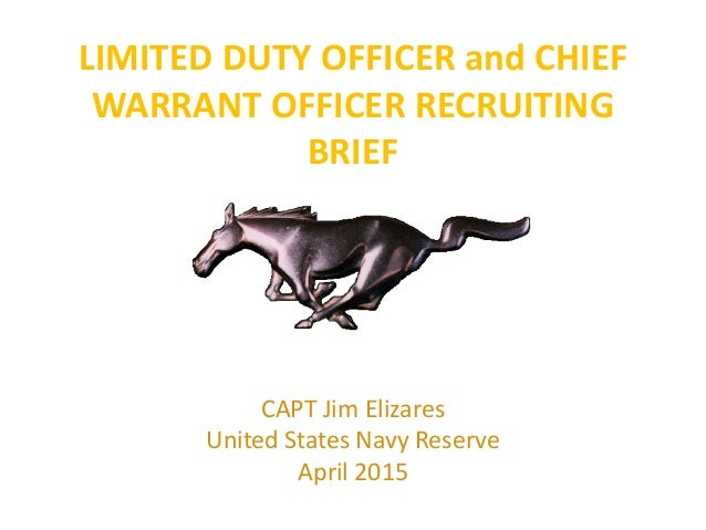 LIMITED DUTY OFFICER and CHIEF WARRANT OFFICER RECRUITING BRIEF CAPT Jim Elizares United States Navy Reserve April 2015