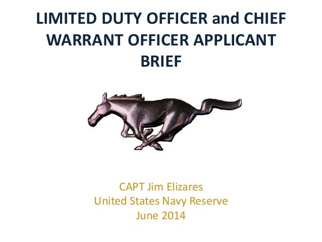 LIMITED DUTY OFFICER and CHIEF WARRANT OFFICER APPLICANT BRIEF CAPT Jim Elizares United States Navy Reserve June 2014