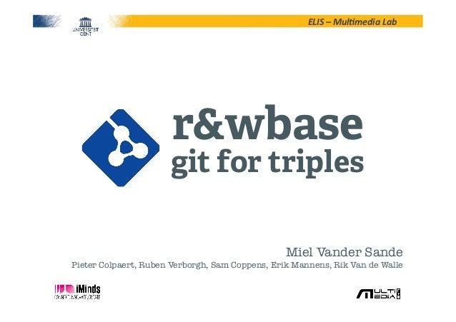 ELIS – Mul*media Lab r&wbasegit for triplesMiel Vander Sande!Pieter Colpaert, Ruben Verborgh, Sam Coppens, Erik Ma...