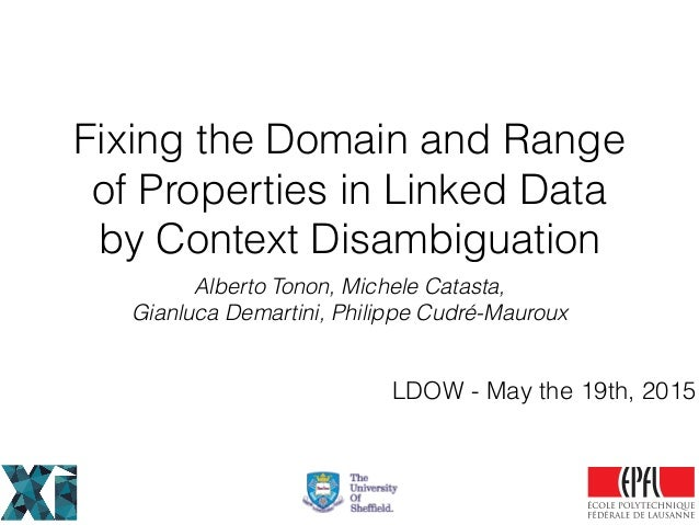 Fixing the Domain and Range of Properties in Linked Data by Context Disambiguation Alberto Tonon, Michele Catasta, Gianluc...