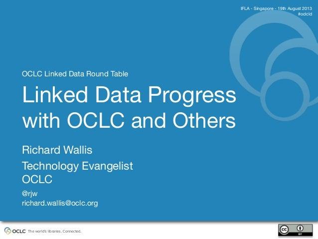 The world's libraries. Connected. Richard Wallis Technology Evangelist OCLC @rjw richard.wallis@oclc.org IFLA - Singapore ...