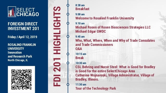 FDI201HIGHLIGHTS Friday / April 12, 2019 ROSALIND FRANKLIN UNIVERSITY Innovation and Research Park North Chicago, IL SELEC...