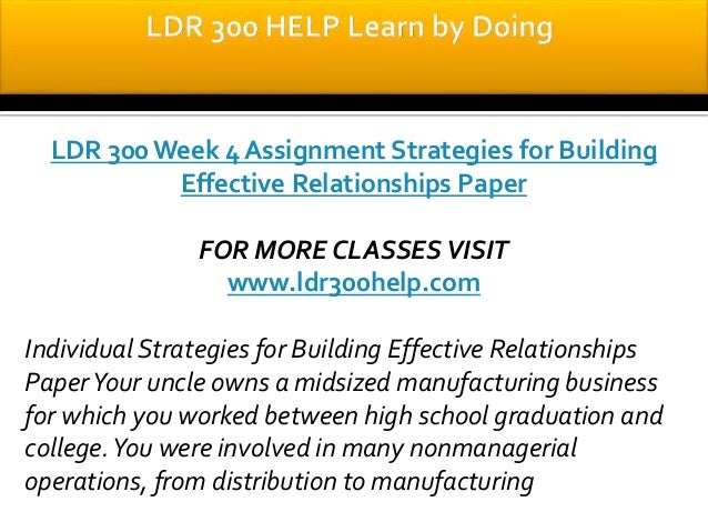 strategies for building effective relationships paper ldr 300 Product description individual strategies for building effective relationships paper your uncle owns a midsized manufacturing business for which you worked between.
