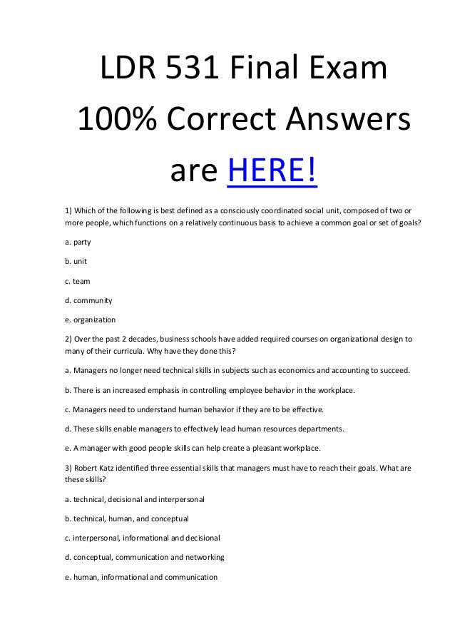 LDR 531 Final Exam (30 Questions - Latest)