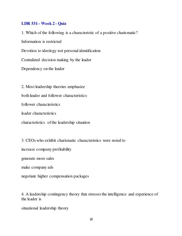 leadership approach paper ldr 531 Want to check out the complete paper visit ldr 531 click ldr 531 final exam questions 16 a leadership theory that describes leadership functions applicable.