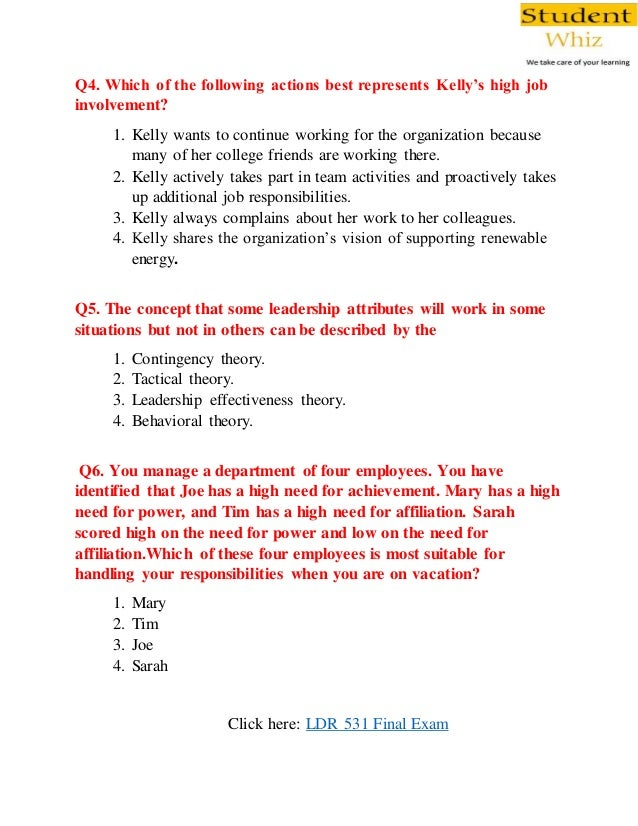 LDR 531 Final Exam Questions and Answers Free From Studentwhiz