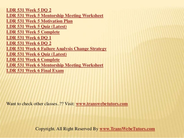 ldr 531 motivation Ldr 531 is a online tutorial store we provides ldr 531 week 5 individual assignment motivation plan paper (new.
