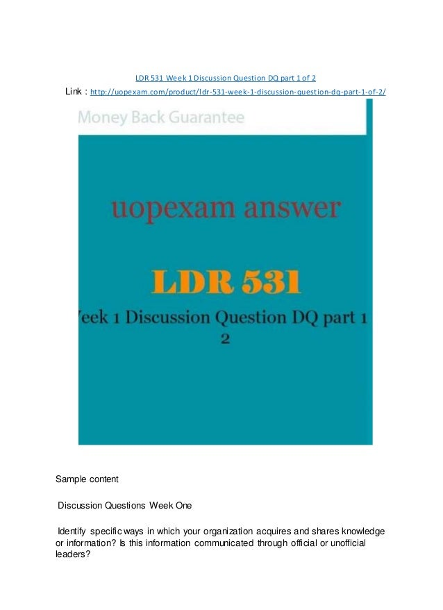 LDR 531 Week 1 Discussion Question DQ part 1 of 2 2015 version