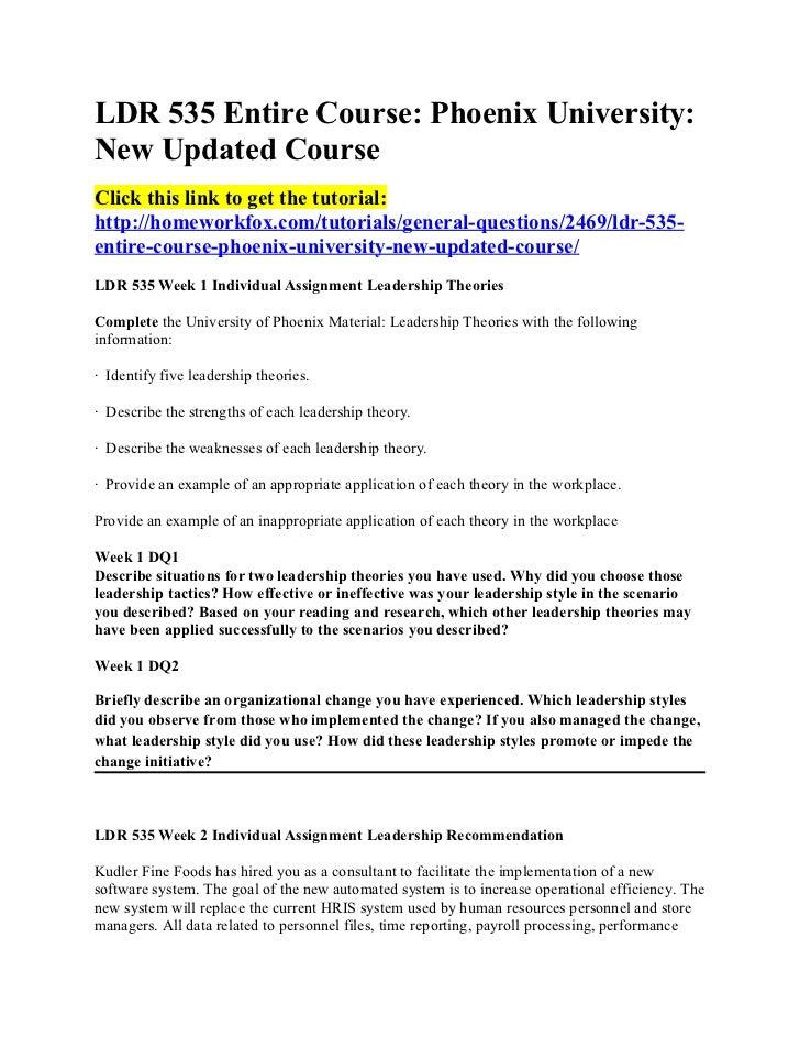 Ldr 535 entire course