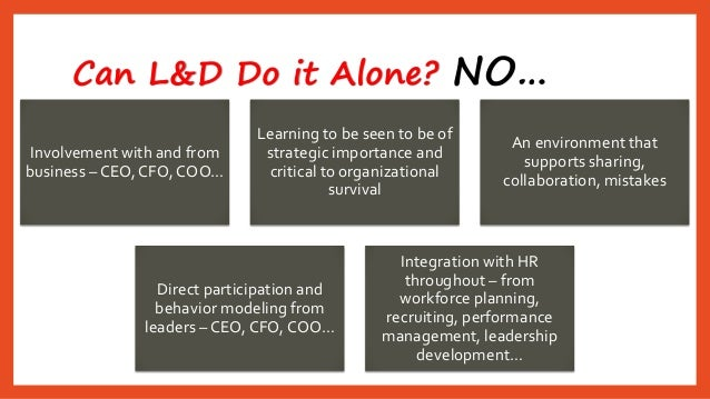 Can L&D Do it Alone? NO…  Involvement with and from business –CEO, CFO, COO…  Learning to be seen to be of strategic impor...