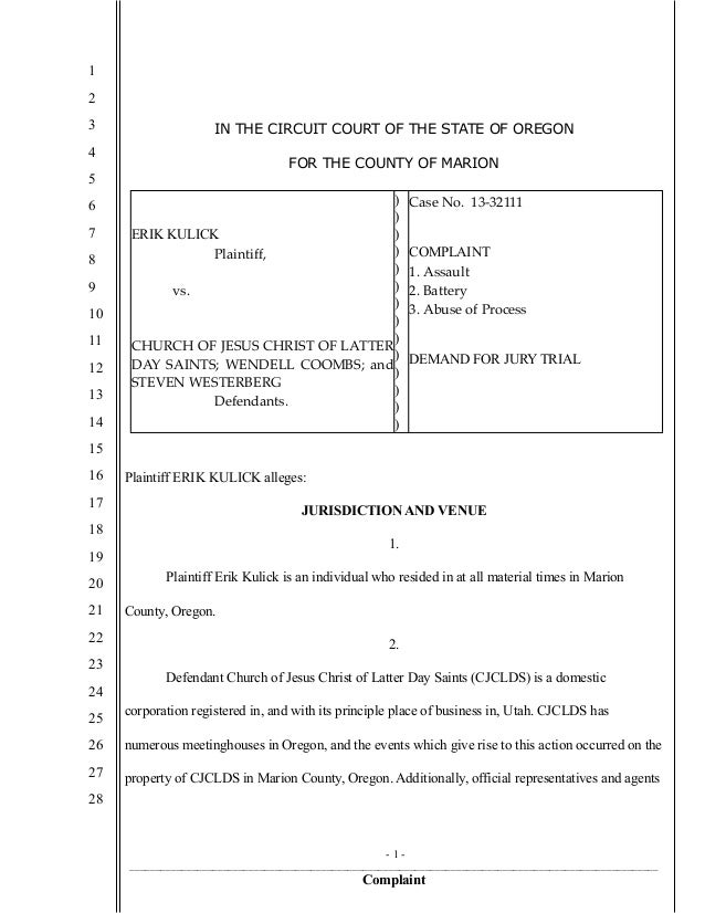 1 2 3 4 5 6 7 8 9 10 11 12 13 14 15 16 17 18 19 20 21 22 23 24 25 26 27 28 IN THE CIRCUIT COURT OF THE STATE OF OREGON FOR...
