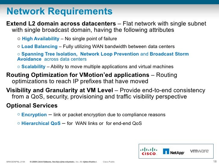 Network Requirements <ul><li>Extend L2 domain across datacenters  – Flat network with single subnet with single broadcast ...