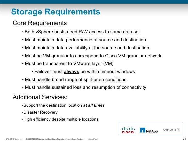 Storage Requirements <ul><li>Core Requirements </li></ul><ul><ul><li>Both vSphere hosts need R/W access to same data set <...