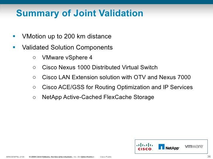 Summary of Joint Validation <ul><li>VMotion up to 200 km distance </li></ul><ul><li>Validated Solution Components </li></u...