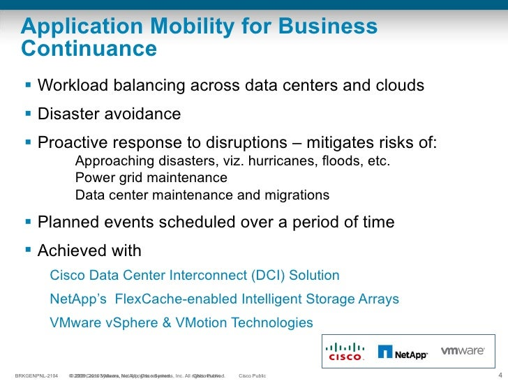 Application Mobility for Business Continuance <ul><li>Workload balancing across data centers and clouds </li></ul><ul><li>...