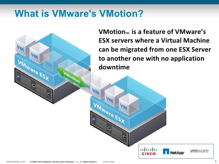 What is VMware's VMotion? VMotion TM   is a feature of VMware's ESX servers where a Virtual Machine can be migrated from o...