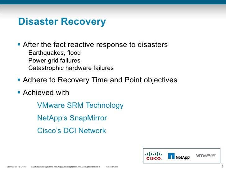 Disaster Recovery <ul><li>After the fact reactive response to disasters </li></ul><ul><ul><li>Earthquakes, flood  </li></u...
