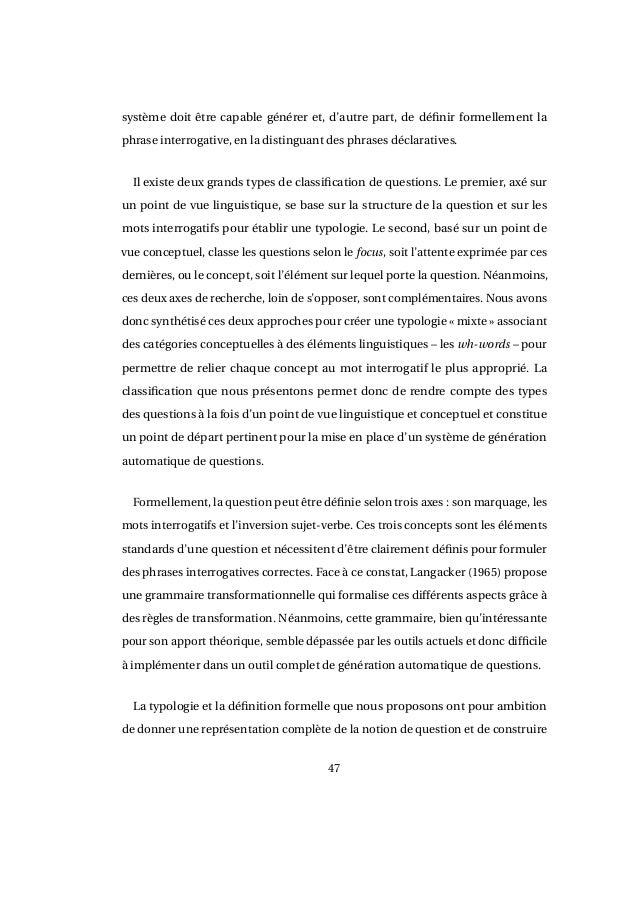 génération automatique de questions à partir de textes en français
