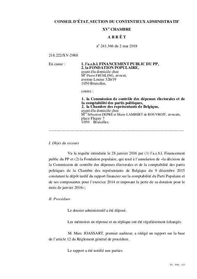 XV - 2988 - 1/23 CONSEIL D'ÉTAT, SECTION DU CONTENTIEUX ADMINISTRATIF XVe CHAMBRE A R R Ê T no 241.366 du 2 mai 2018 218.2...