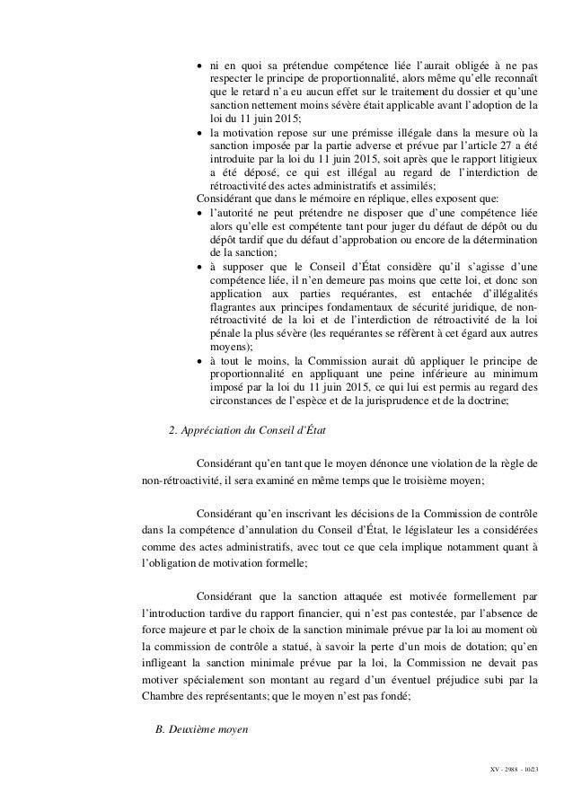 XV - 2988 - 10/23 • ni en quoi sa prétendue compétence liée l'aurait obligée à ne pas respecter le principe de proportionn...