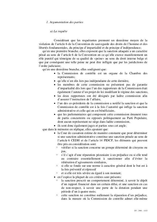 XV - 2988 - 11/23 1. Argumentation des parties a) La requête Considérant que les requérantes prennent un deuxième moyen de...