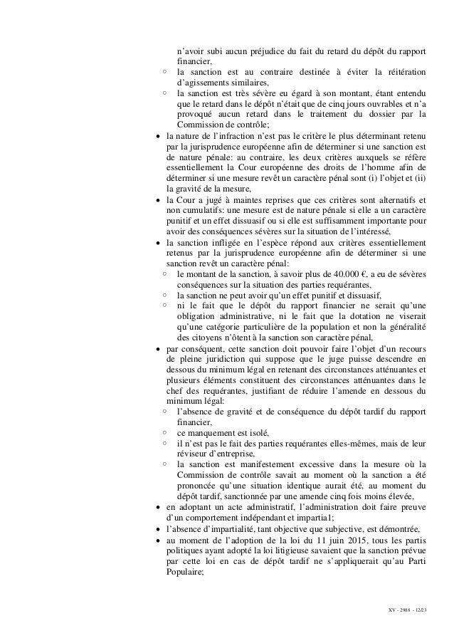 XV - 2988 - 12/23 n'avoir subi aucun préjudice du fait du retard du dépôt du rapport financier, ◦ la sanction est au contr...