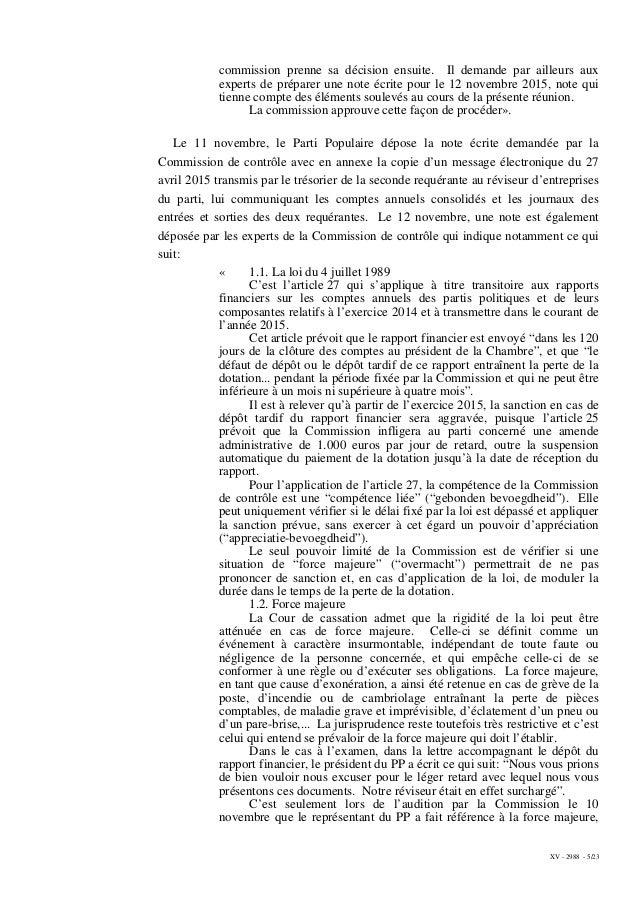 XV - 2988 - 5/23 commission prenne sa décision ensuite. Il demande par ailleurs aux experts de préparer une note écrite po...