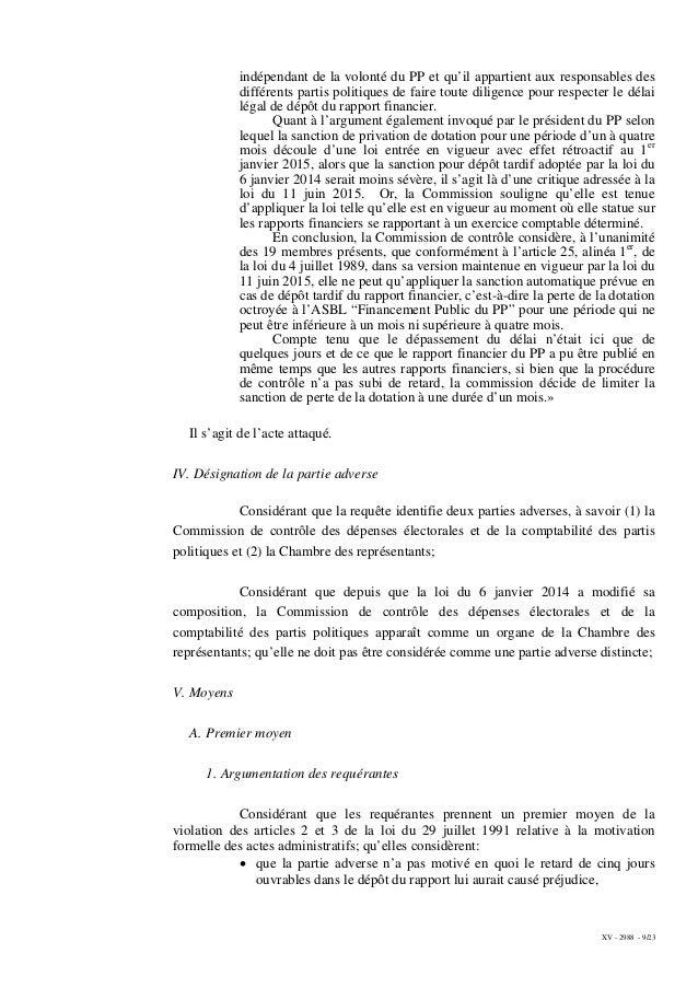 XV - 2988 - 9/23 indépendant de la volonté du PP et qu'il appartient aux responsables des différents partis politiques de ...