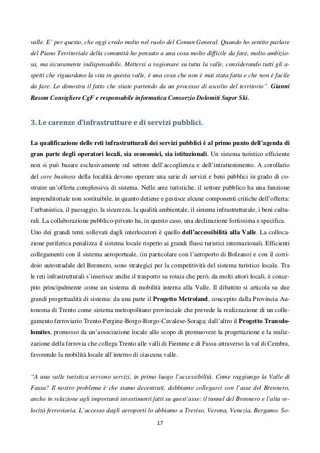 Le Dinamiche Evolutive Del Distretto Turistico Della Val Di Fassa