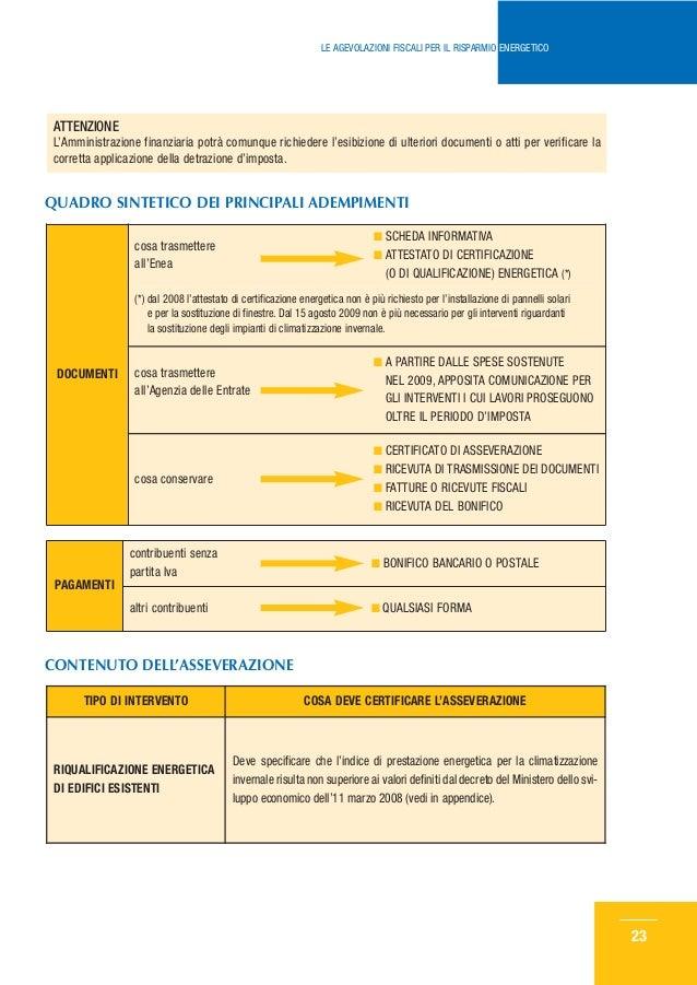 Le agevolazioni fiscali per il risparmio energetico for Agenzia delle entrate risparmio energetico