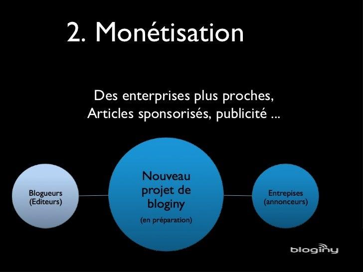 2. Monétisation Des enterprises plus proches, Articles sponsorisés, publicité ...