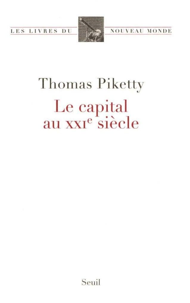 Le capital au xx{ siècle
