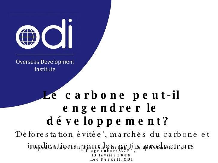 Le carbone peut-il engendrer le développement?  'Déforestation évitée', marchés du carbone et implications pour les petits...