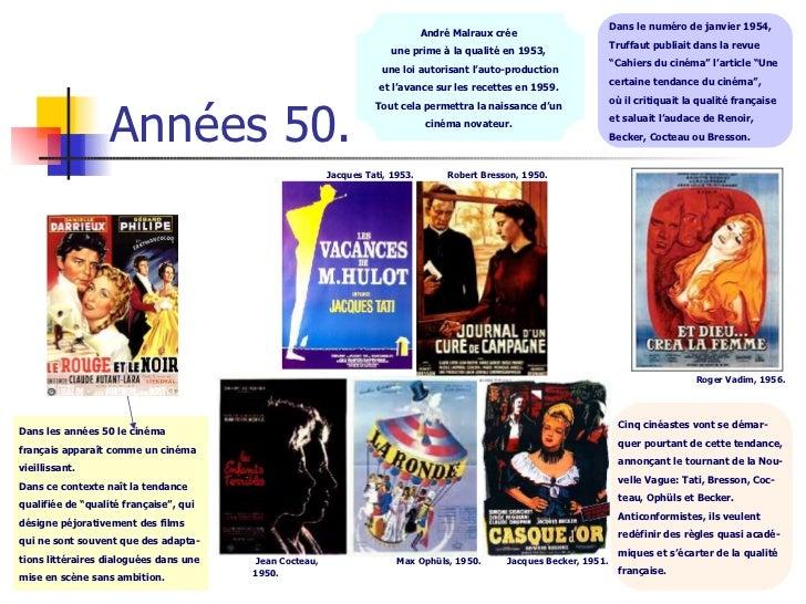 Années 50. Dans les années 50 le cinéma  français apparaît comme un cinéma  vieillissant.  Dans ce contexte naît la tendan...