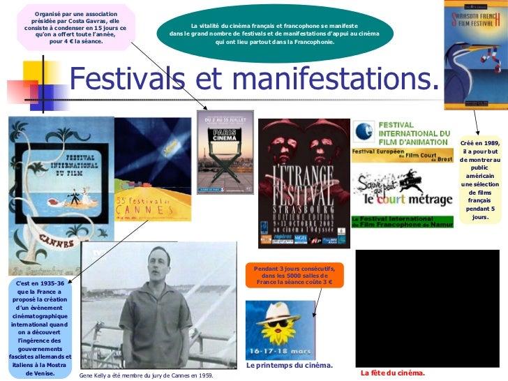 Festivals et manifestations. Le printemps du cinéma. La fête du cinéma. La vitalité du cinéma français et francophone se m...