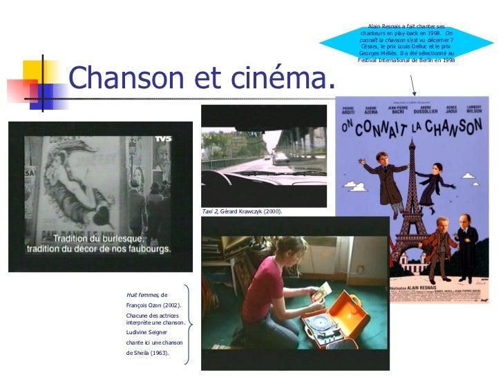 Chanson et cinéma. Taxi 2 , Gérard Krawczyk (2000). Huit femmes , de  François Ozon (2002). Chacune des actrices interprèt...