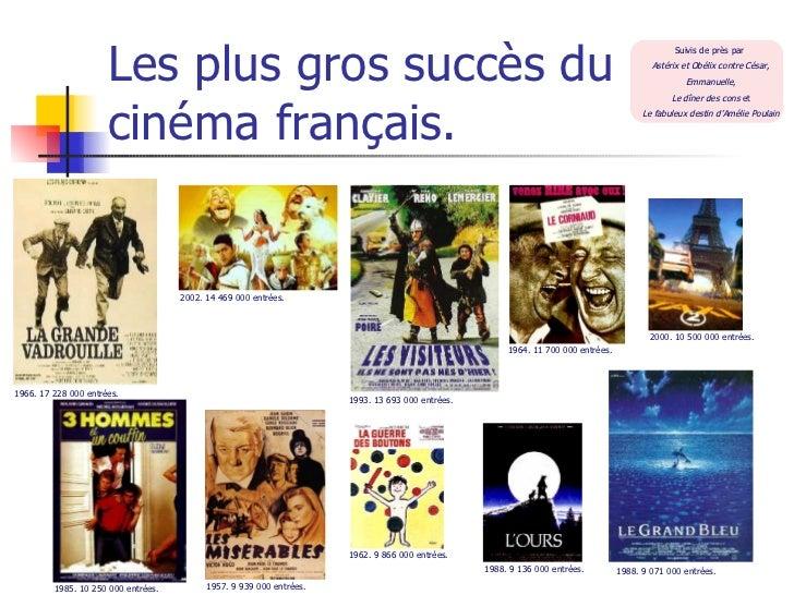 Les plus gros succès du cinéma français. 1966. 17 228 000 entrées. 2002. 14 469 000 entrées. 1993. 13 693 000 entrées. 196...