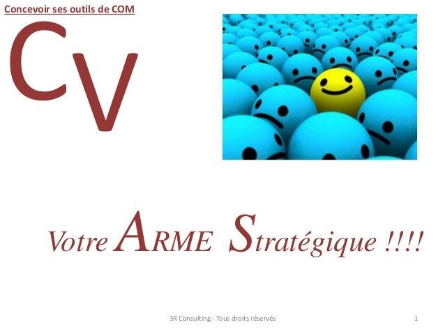 CV Votre ARME Stratégique !!!! 13R Consulting - Tous droits réservés Concevoir ses outils de COM
