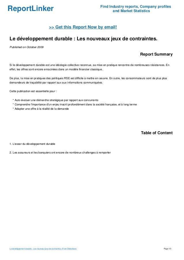 ReportLinker Find Industry reports, Company profiles and Market Statistics >> Get this Report Now by email! Le développeme...