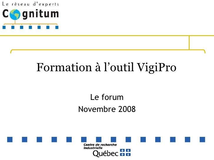 Formation à l'outil VigiPro  Le forum Novembre 2008